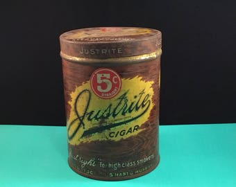 Vintage JUSTRITE CIGAR Tobacco Tin Can Worch Cigar Company Advertising St. Paul MN 1930's