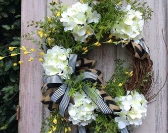 White Hydrangea Wreath,Hydrangea wreath for front door,Double Door Wreath,Hydrangea door wreath,Front Door Wreath,Year round wreath, wreath