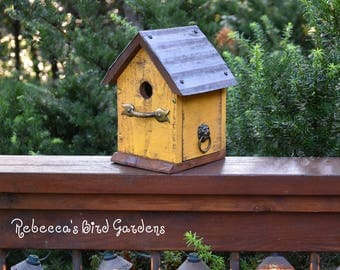 "Yellow Rustic Birdhouse ~ ""The Cabin"" - Unique Birdhouse - Wooden Birdhouse - Outdoor Birdhouse - Bird House - Shabby Chic Birdhouse"