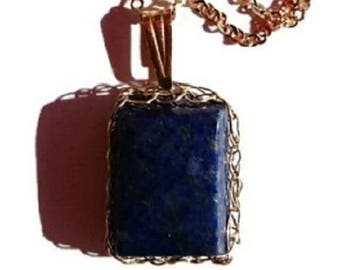 Lapis Lazuli pendant / Gold filled pendant / Wire crochet jewelry / French handmade jewelry / Mother's day / Pisces Meditation zen jewelry