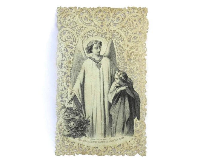 French Catholic Antique Prayer Card with Guardian Angel.