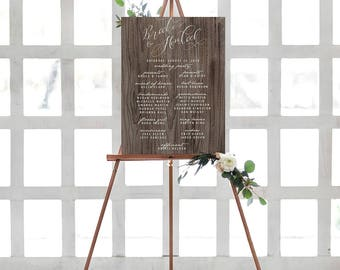 Rustic Wedding Party Sign - Watercolor Calligraphy Wedding Program Sign - Welcome Sign