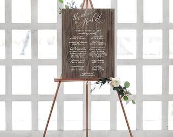 Rustic Wedding Party Sign - Watercolor Calligraphy Wedding Program Sign - Welcome Sign - Card Stock Print