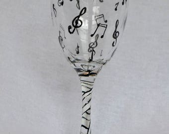 Music Notes Wine Glass