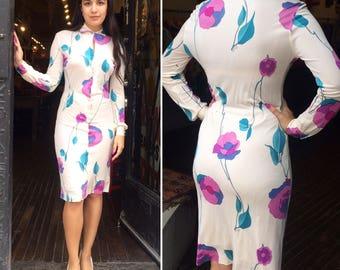 Vintage 1960s Emilio Pucci Floral Silk Jersey Button-up Dress