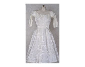 Vintage 1950s Gigi Young Ivory Brocade Party Dress Wedding Dress White Dress