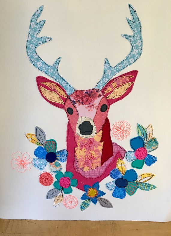 Large Floral Stag -stitched- mixed media- original artwork