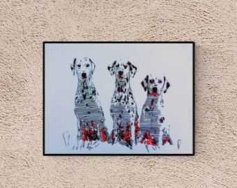 Hand-made pop art illustration: Dalmatian Dog, original image, signed, unique