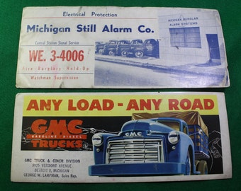 Vintage  pair of GMC Trucks  Any Day Any Road & Michigan Still Alarm Co.  advertising Ink Blotters. Advertising Ephemera - Free Shipping