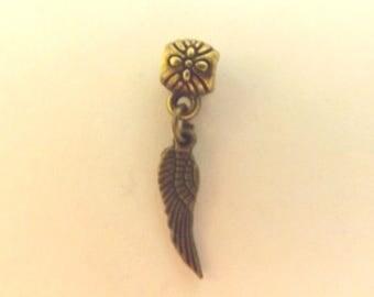 bronze wing pendant Angel 18x5mm