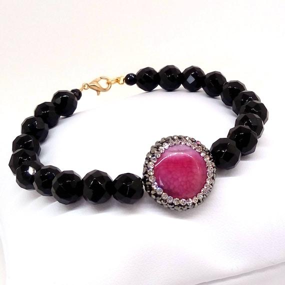 Black onyx bracelet, agate bracelet, gemstone bracelet, onyx faceted gemstone bracelet, pave rhinestone crystal gemstone agate bracelet,gift