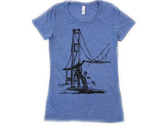 Women's T shirt Galloping Gertie Bridge, Narrows, Tacoma Washington, Iconic scene, Puget Sound, gifts for her, mom, girlfriend, wife, pnw