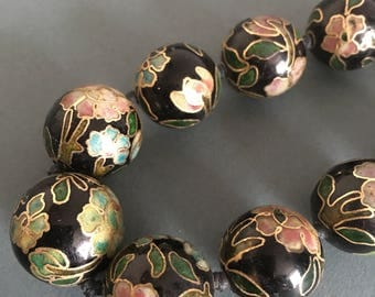 Vintage Enamel Painted Ceramic graduated Beaded Necklace Art Deco Black Green Pink Blue Green Gold