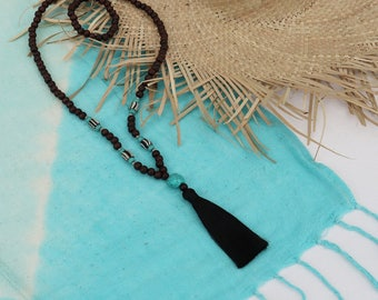 Wooden bead tassel necklace with turquoise and handmade glass beads with black tassel