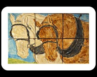 The Shire Horses Kitchen Backsplash / Wall Tile mural / Ceramic tiles / splashback