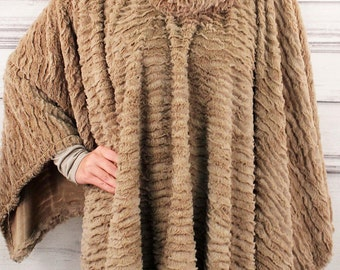 Furry Poncho /Sherpa with Mock Neck -- One Size Fits All - 3 Colors Available