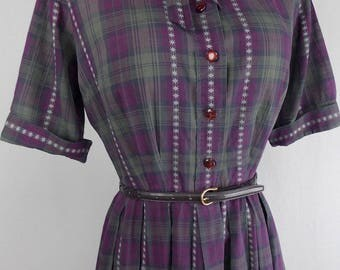 1960's Nelly Don Plaid Cotton Day Dress