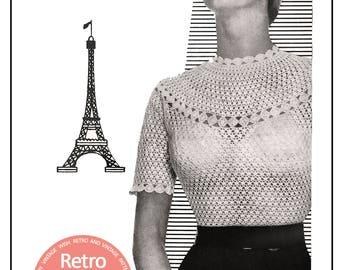 Crochet Blouse 1950s Vintage Pattern - PDF Crochet Pattern - Instant Download