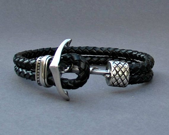 Anchor, Mens Braided Leather Bracelet, Stainless Steel Leather bracelet Cuff Gift For Men Customized On Your Wrist