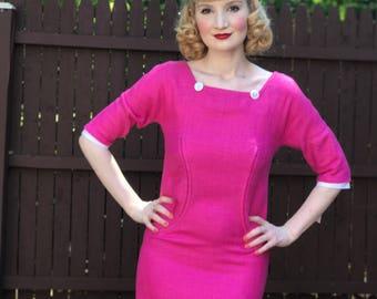 PINK Vintage 1960s Dress by Oscar de la Renta, Bright Pink Linen Sheath Wiggle Dress with Matching Scarf Size XS