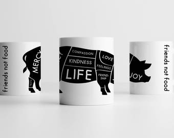 HAPPY VEGAN PIG mug friends not food veggie protest animal liberation alf equality anti cruelty cup animal rights