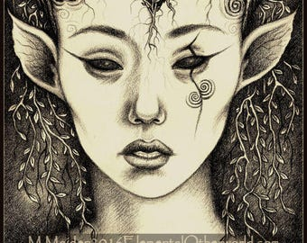 Fauna, Limited Edition Print, nature spirit portrait, otherworldly, horned woman, faerie, spirals, detailed delicate sepia drawing A4 size