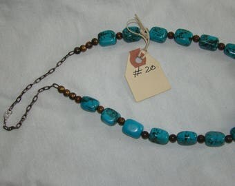 T-20 Native American Necklace, Silver Beads ??, Turquoise stones