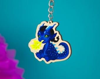 Sassy Dragon Cute Wooden Charm - Lovely Key Charm - Key Chain