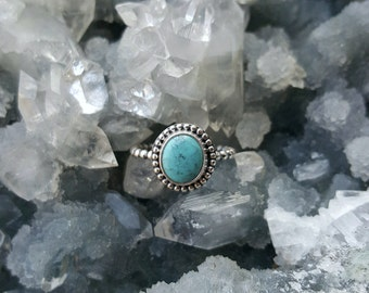 Turquoise Ring, Turquoise Silver Ring, Natural Jewelry, Boho Chic, Mother's Day Gift, Boho Ring, Boho Jewelry, Dainty Ring, Gifts For Her
