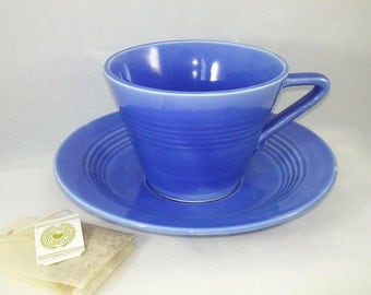 HARLEQUIN Cup and Saucer, Mauve Blue, Homer Laughlin