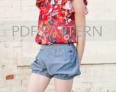 Mona Shorts PDF, bubble shorts pdf, girl shorts pattern, bloomer pdf, sewing pattern, girl pdf, toddler shorts pdf, tween pattern, kids pdf