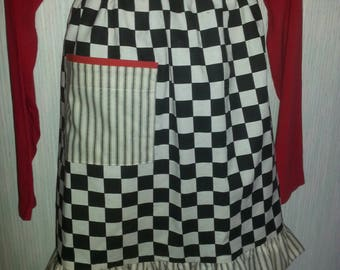 Black and white checkered apron