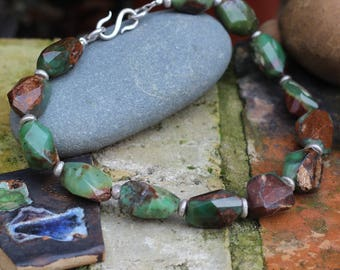 Chrysoprase Necklace, Hand cut beads, Chunky Necklace, Silver Necklace,