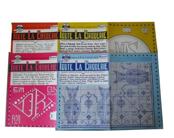 "Vintage Embroidery Magazines, set of 4 ""Toute la Broderie"" embroidery patterns, lingerie, monograms, napkins"