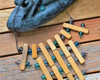 Boho chic necklace, Bamboo necklace, Earthy necklace, Hip necklace, Modern necklace, Zen Chic necklace, Festival necklace