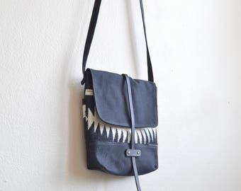 Waxed Canvas Crossbody Bag Made with Walking Rock Pendleton® Fabric / Wool Purse / Waxed Canvas Purse