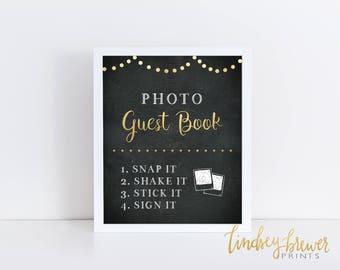 Photo Guest Book sign Black And Gold Chalkboard PRINTABLE instant download - Gold Bistro Lights - Selfie Photo Guest Book print sign 8x10