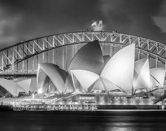Black and White Photograph of the Sydney Opera House and the Sydney Harbor Bridge at Night in a Beautiful Long Exposure Photography Print
