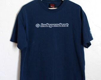 90s Vintage Independent Truck Company T-Shirt 90s Skateboarding Skate Tee Dark Navy Blue Size Medium