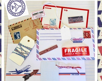 Mini Via Air Mail Ephemera Pack - 10+ Pieces