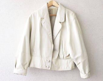 Vintage 80s Leather Bomber white / M