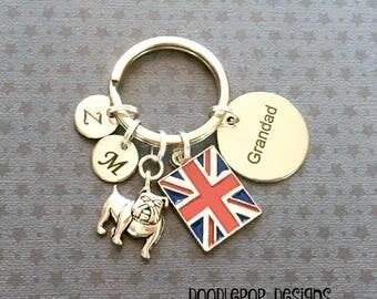 Personalised Grandad keyring - British Bulldog keyring - Birthday gift for Grandad - Bulldog keychain - Bulldog gift - Grandad Gift - UK