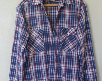 vintage blue & red plaid checkered  button up shirt *