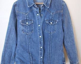 vintage distressed blue chambray western denim jean shirt womens