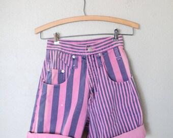 vintage pink & navy blue stripe high rise waist denim mom jean shorts 24