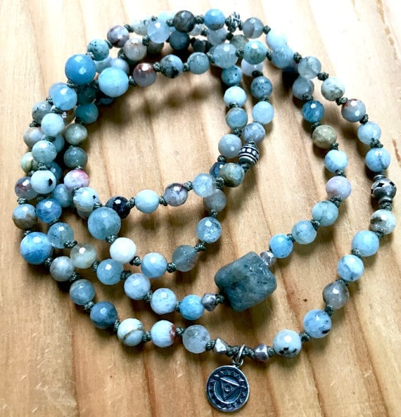 108 Throat Chakra Mala Beads, Aquamarine Wrist Mala Bracelet, Raw Sapphire, Visshudah Chakra Mala, March Birthstone, Communication,