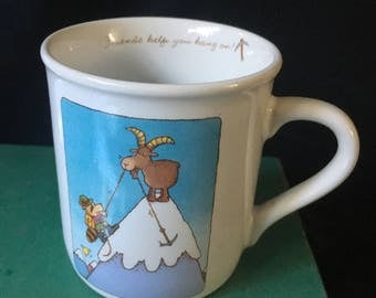 Vintage Hallmark Friendship Mug Coffee Cup Rim Shots Hallmark 1986 Mug Friends Help you Hang On! Goat & Raccoon on Mountain Made in Japan