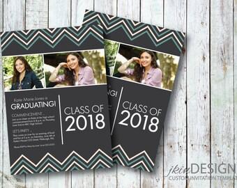 Vibrant, Zig-Zag 2018 Graduation Invitation (Customized Content, Photos & Color for DIY Printing)