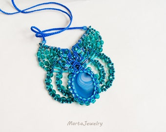 Agate necklace, blue teal, gemstone, micro-macrame, macrame jewelry, beaded lace, beadwork, beadwoven, bohemian, elegant, bib necklace