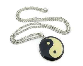 Vintage Yin Yang Necklace, Enamel